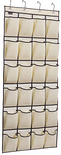MISSLO Over The Door Shoe Organizer 24 Large Fabric Pocket Closet Accessory Storage Hanging Shoe Hanger, Beige