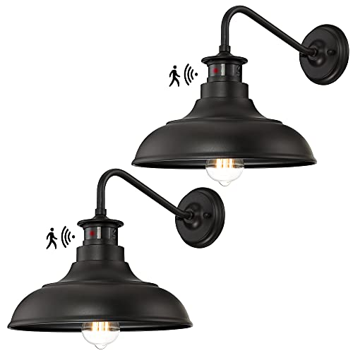 Dusk to Dawn Motion Activated Sensor Gooseneck Outdoor Wall Light Fixture, Industrial Outdoor Barn Light Matte Black Exterior Wall Sconce for Garage Porch Front Door, 2 Pack(Bulbs Included)