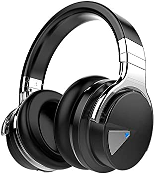 COWIN E7 Active Noise Cancelling Headphones Bluetooth Headphones with Microphone Deep Bass Wireless Headphones Over Ear Comfortable Protein Earpads 30 Hours Playtime for Travel/Work Black