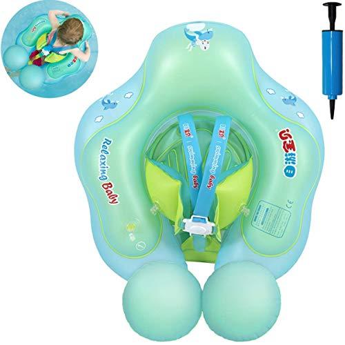 Myir Flotador bebé, Anillo de Natación para bebés de Piscina Flotador Inflable para Niños Flotador de Natación Nadar Anillo Cintura Ajustable (Azul, S)