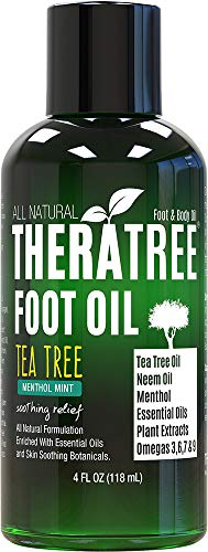 Foot Oil with Tea Tree Oil, Neem Oil, and Menthol Mint - Helps Skin Irritation and Foot Odor – Moisturizing - by Oleavine TheraTree