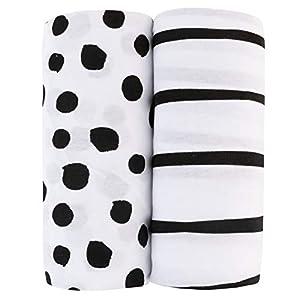 Adrienne Vittadini Bambini Jersey Cotton Bassinet Sheets 2 Pack Stripes & Dots, Black