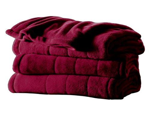 Sunbeam Royal Retreat Microplush Twin Heated Blanket, Garnet