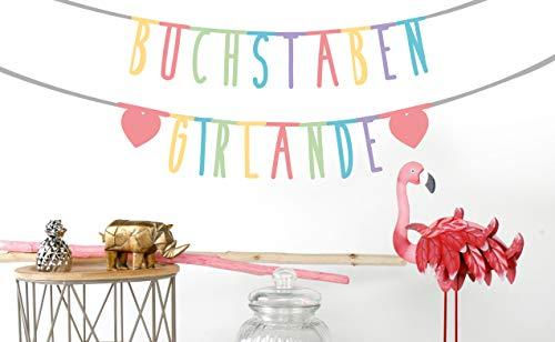 MIK Funshopping Individualisierbare Buchstaben-Girlande für Geburtstag Hochzeit Feier Party Junggesellenabschied aus Papier (Bunt - 105 Zeichen)