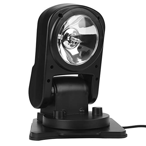 Searchlight, Qiilu Car Search Lamp, 12V 75W ABS Car Searchlight Waterproof 360 Degree Rotation Remote Control Work Light Folding Lamp Black