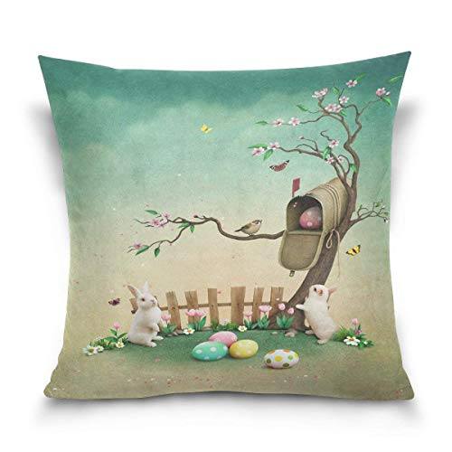 Throw Pillow Case Decorative Cushion Cover Square Pillowcase, Landscape Nature Easter Day Butterfly Rabbit Bunny Egg Sofa Bed Pillow Case Cover(18x18inch) Twin Sides