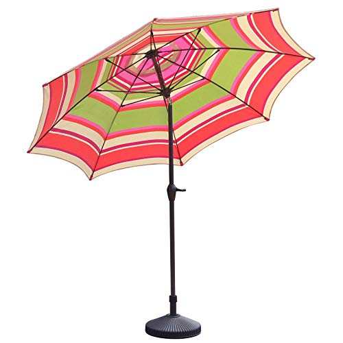 HWF Sombrilla Sombrilla de Patio, Paraguas de jardín de 9 pies con manivela e inclinación, Protección UV 50+, Rayas Rojo Blanco Verde
