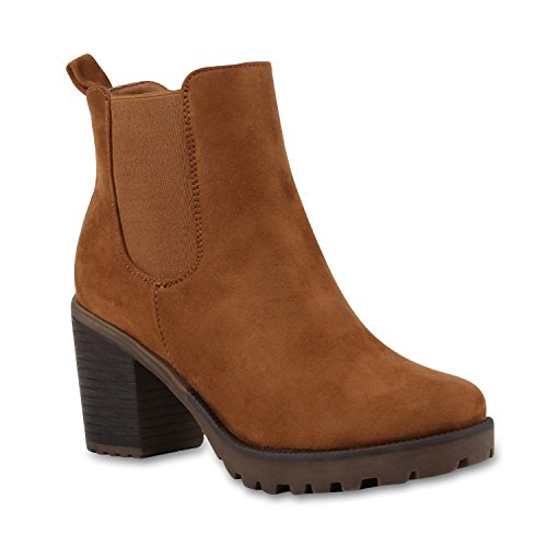 Damen Stiefeletten Chelsea Boots Profilsohle Schuhe 110385 Hellbraun 40 Flandell