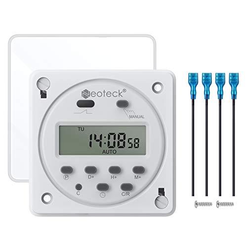 Neoteck 12V 16A Temporizador Programable Digital Electronico LCD Time Relay Switch para Farola, Calentador de Agua, Luces Publicitarias, Cajas Eléctricas, Bombas de Drenaje, Cargadores