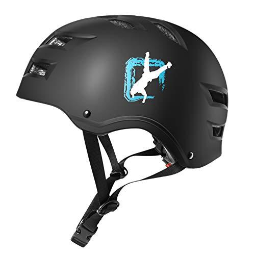 Automoness Skate/Bicycle Helmet Casco Skateboard Regolabile, Scooter, BMX, Adatto a Bambini e Adulti con Diverse Dimensioni e Colori