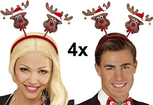 Party-Teufel® 4 Stück Rentier Köpfe rote Mütze Glöckchen wackeln auf Haarreifen Weihnachtsmütze Weihnachtshut Nikolaus Weihnachtsmarkt