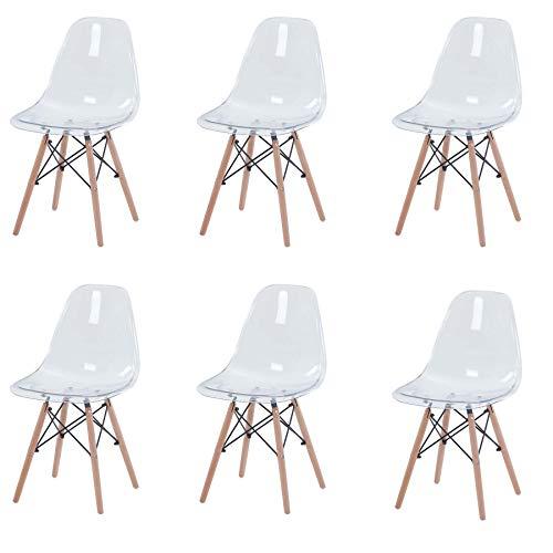 GrandCA Home Ensemble de 6 chaises, Design Bois Chaise de Salle à Manger, Chaise de Bureau, Chaise de Salon (Transparent-6)