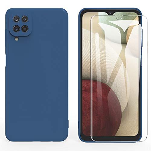 ARRYNN Samsung Galaxy A12 hülle + Panzerglas Schutzfolie,Handyhülle Liquid Silikon TPU Schutzhülle für Samsung Galaxy A12 -Blau