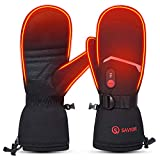 SAVIOR HEAT 2020 Heated Mittens for Men Women, 7.4V 2200mAh Electric Rechargeable Battery Thermal Gloves for Winter Skiing Skating Snow Camping Hiking (Black, M)