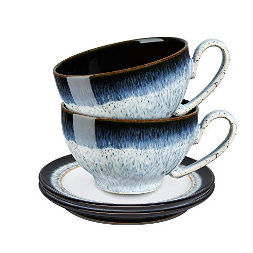 Denby 199048701 Teetasse und Untertasse, Steingut, Halo