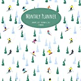 """Monthly Planner: Skiers/Snowboarders; 24 months; January 1, 2021 - December 31, 2022; 8.5"""" x 8.5"""""""