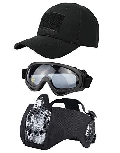 Hodeacc 3 Stück taktische Airsoft-Maske, Schutzbrille, Baseballkappen-Set, verstellbare Halbgesichtsmaske mit Ohrenschutz, Airsoft-Brille, Augenschutz, Outdoor-Hut für Airsoft/BB/CS Spiel