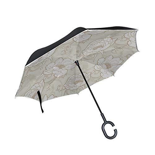 Double Layer Inverted Klappstühle mit Regenschirm Silver Roses White Mens Inverted Umbrella Wende-Regenschirm Großer winddichter UV-Schutz für Regen mit C-förmigem Griff
