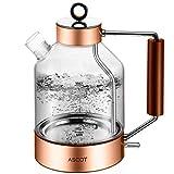 ASCOT Electric Kettle Glass, Electric Tea Kettle 1.6L, 1500W, Stainless Steel Tea Heater & Hot Water Boiler,...