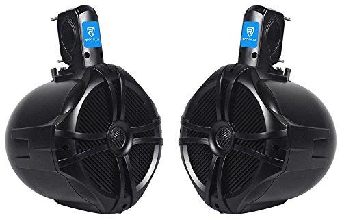"""Rockville Pair 8"""" Black 2 Way 600 Watt Marine Wakeboard Tower Speakers (RWB80B)"""