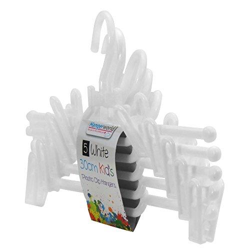 Hangerworld 20 Perchas 30cm para Niños Percha y Gancho de Plástico Blanco con Pinzas para Pantalones