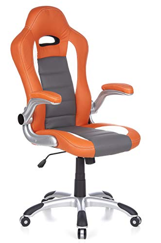 hjh OFFICE RACER SPORT - Silla gaming o de oficina, color naranja y blanco