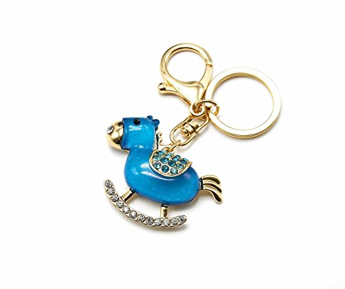 Oh My Shop PT518–Portachiavi/bag charm ciondolo cavallo a dondolo blu resina strass
