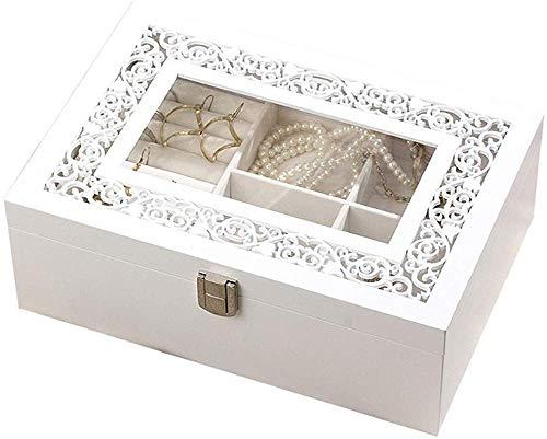 HJ Zuhause Schmuck Aufbewahrungsbox Holz geschnitzt transparentes Glas einfache Halskette Ohrringe Schmuck Aufbewahrungsbox Hochzeitsgeschenk,Dachfenster