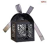 suoryisrty Decoraciones de Halloween 50 Piezas/Set Halloween Spider Web Hollow Favors Regalos Caja de Dulces con Cinta Baby Shower Suministros para Banquetes de Boda Negro