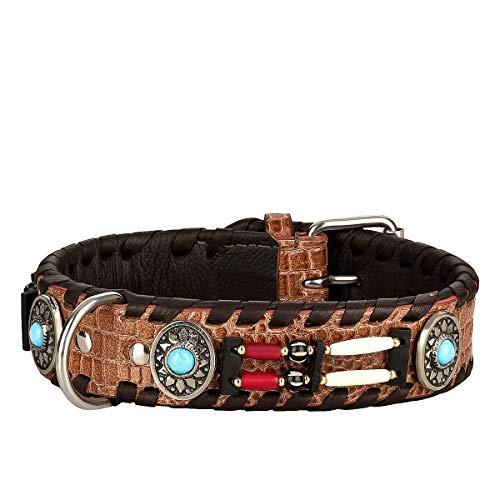 MICHUR Carlota Halsband Indianer, Hundehalsband Leder Braun, Lederhalsband Hund, Halsband, MIT TÜRKISEN Steinen, in verschiedenen Größen erhältlich