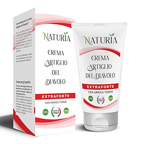 Naturia crema ARTIGLIO DEL DIAVOLO FORTE NATURALE-Made in Italy-100ml - Ideale per sportivi pre post allenamento- contro tendiniti, mal di schiena, dolori muscolari