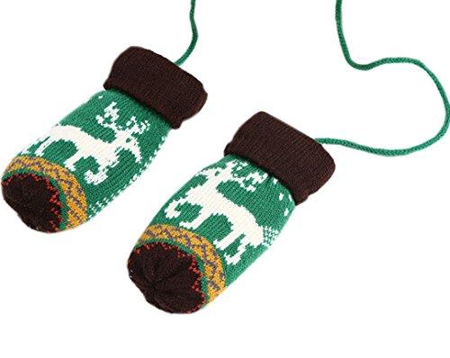 La Haute pour enfants hiver chaud gants en tricot thermique gants de cadeaux de Noël vert/noir