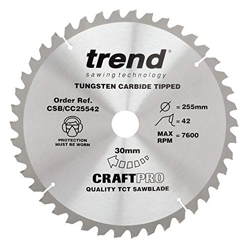 Trend CSB/CC25542 Craft Pro Negative Hook Crosscut TCT Hoja circular ideal para Sierra ingletadora Makita MLS100, punta de carburo de tungsteno, 255 mm x 42 dientes x 30 agujeros
