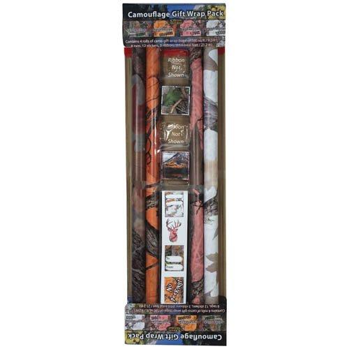 River's Edge Products River's Edge 086 Gift Wrap - Camo Ribbon/Card, Multi