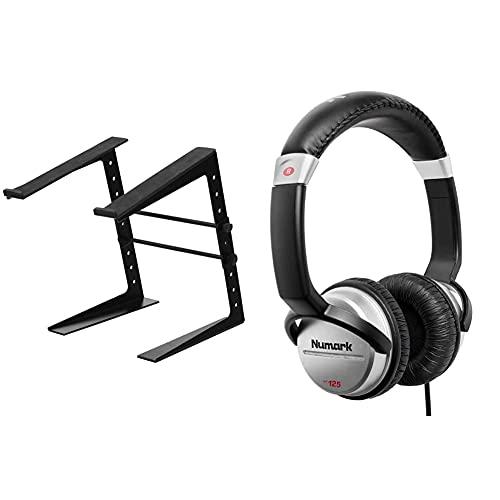 Pronomic LS-100 Laptopständer DJ Notebookstativ Laptop Stand (Höhenverstellbar) Schwarz & Numark HF125 - professioneller DJ Kopfhörer mit 2m Kabel und 40 mm Lautsprechern, Schwarz