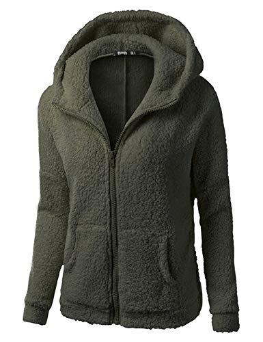 Minetom Frauen Damen Montana Mikro Fleece Jacke Kapuze Pullover Kuschelig Warm Zipper Hoodie Outwear Oberteile Grün DE 34