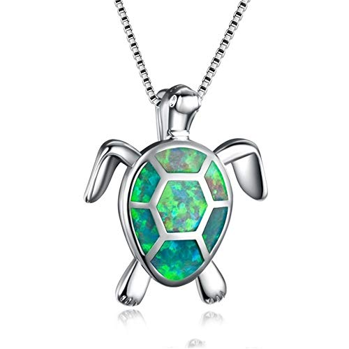 Women Animal Necklace Silver Sea Turtle Necklace/Stud Earrings Created Blue/White Fire Opal Pendant Fine Jewelry for Women
