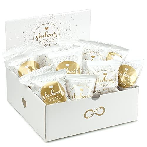 50er Box Hochzeits-Kekse (2 x hübsche 25er Aufsteller) | Glückskeks für Hochzeiten | frisch gebacken, vegan & made in Germany