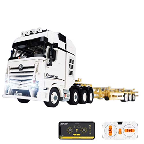 Oeasy Technik LKW mit Anhänger, 4478 Klemmbausteine 2.4G Ferngesteuert 4CH Lastwagen mit Motoren, Modellbausatz Kompatibel mit Lego Technic