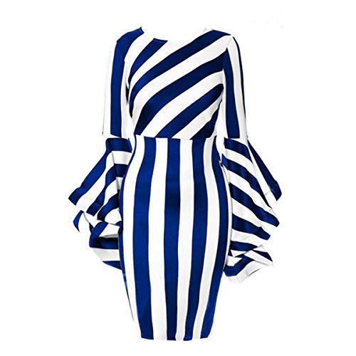 Nuofengkudu Women's Plus Size Bell Sleeve Tunic Empire Waist Fashion Pencil Dresses Blue L