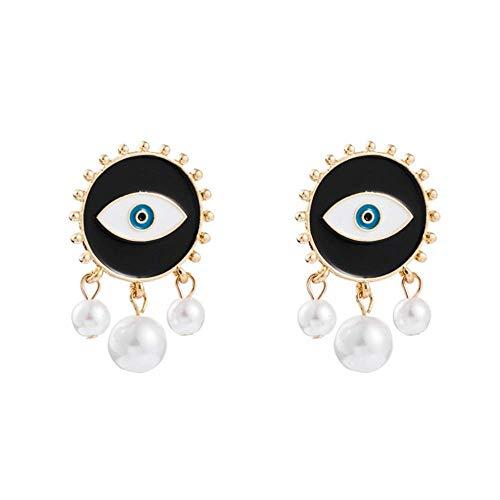 Pendientes de ojos malvados en tono dorado, con ojos abstractos, para mujeres y niñas, joyería exagerada