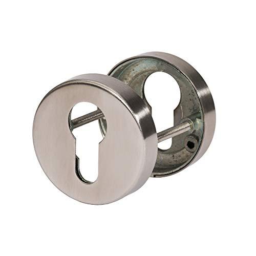 Schlüsselrosette Profilzylinder | Metallische Unterkonstruktion | V2a Edelstahl matt | 1 Paar