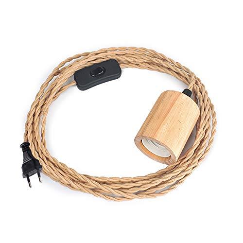 Holz Pendelleuchte Kabel Kit mit Schalter, 16.4FT Vintage Industrie Hängelampe Plug in Lampenkabel mit verdrehten Nylon Seil Pendelleuchten Sockel E26 E27 für Bauernhaus Lampenkabel Retro DIY