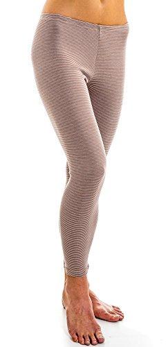HERMKO 1672005 warme Damen Thermo-Leggings in Ringel-Optik, Größe:32/34 (XS), Farbe:Taupe Ringel