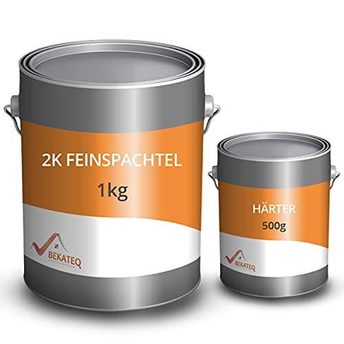 BEKATEQ Feinspachtel BK-110EP 2K Epoxidharz, 1,5 kg l Spachtelmasse für Boden, Auto & Boot l Risse & Löcher auffüllen I schnell härtend & wasserbeständig I ausziehbar auf 0 I inklusive Reparatur-Set