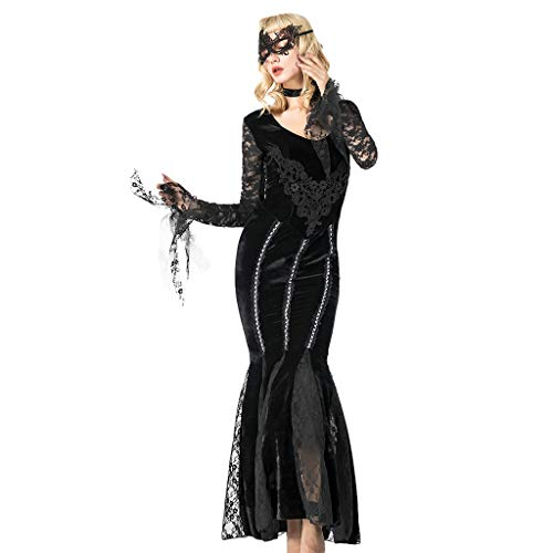LOPILY Kostüme Damen Spitzen Vampire Kostüme mit Spitze Augenmaske Schwarze Königin Fashingskostüme Halloween Kleid Damen Karneval Hexen Damen Erwachsenenkostüme (Schwarz, 32)