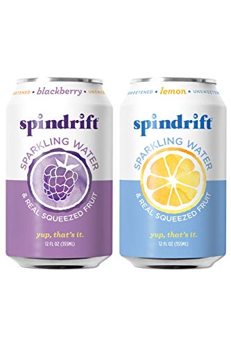 Spindrift Sparkling Water, Variety Pack, Blackberry & Lemon, Made with Real Squeezed Fruit, 12 Fl Oz...