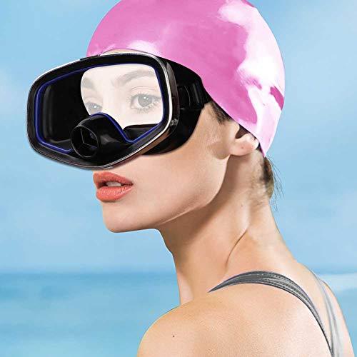 Gafas de Buceo Ajustables, 17.50 * 11.00 * 7,00 CM Lente de Cristal de Vidrio de plástico y Templado de plástico (Negro + Azul)