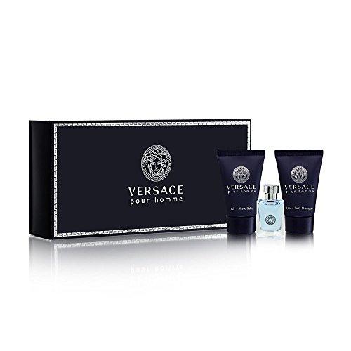 Versace Pour Homme for Men 3 Piece Set Includes: 0.17 oz Eau de Toilette + 0.8 oz Hair & Body Shampoo + 0.8 oz After Shave Balm by Versace