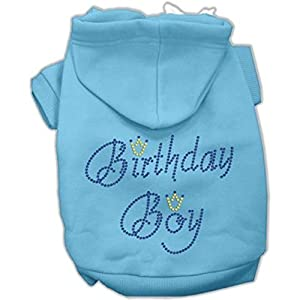 Mirage Pet Products 8-Inch Birthday Boy Hoodies, X-Small, Baby Blue